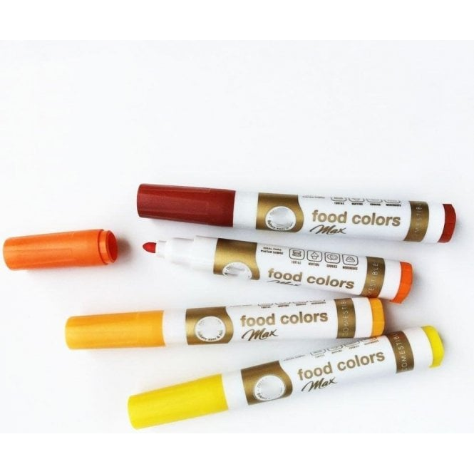Gourmet Food Pens Shades of Sunset Yellow - Edible Food Colouring Marker Pen Felt Tip Set of 4