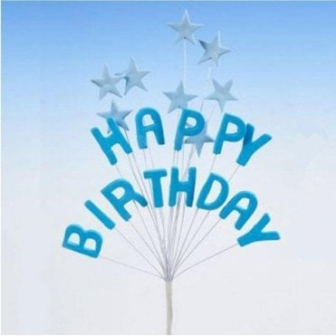 'Happy Birthday' Blue Star Spray Celebration Cake Decoration Topper 16cm