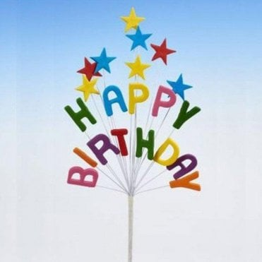 Happy Birthday Multi-Coloured Celebration Star Spray Cake Decoration 16cm