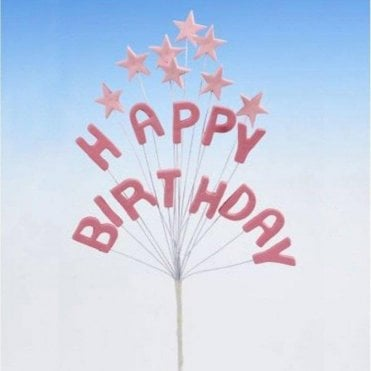 'Happy Birthday' Pink Star Spray Celebration Cake Decoration Topper 16cm