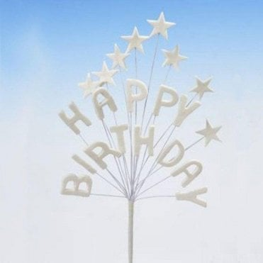 'Happy Birthday' White Star Spray Celebration Cake Decoration Topper 16cm