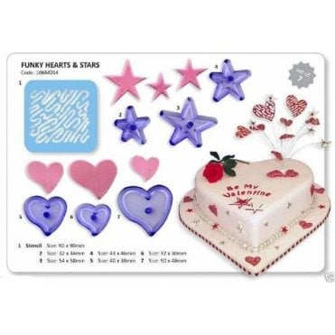 Funky Heart Icing Cutter with Star Stencil - Set of 7