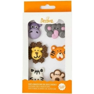 Jungle Animals Sugar Royal Icing Edible Decorations - 6 Count