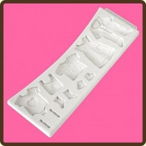 Baby Clothes Washing Line - Cake Decorating Silicone Mould