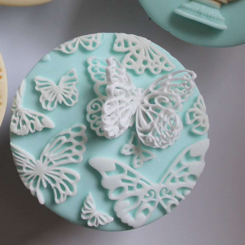 Butterfly cake cupcake decorating silicone texture mat for Decoration 4 cake