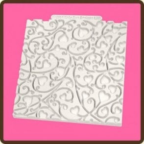 "Heart Vine 4"" x 4"" Design Textured Mat - Cupcake Decorating Silicone Mould"