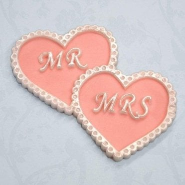 'Mr & Mrs' Intertwined Hearts Plaque - Cake Decorating Silicone Mould