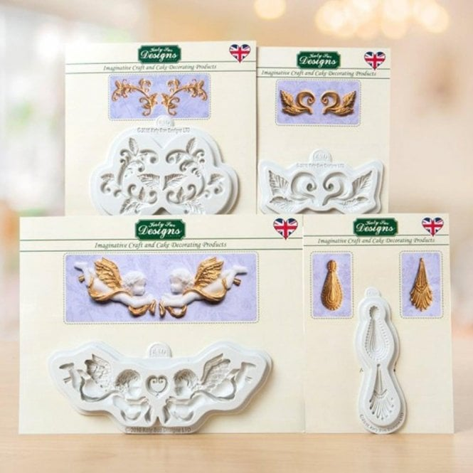 Katy Sue Designs Ornamental & Leaf Embellishments - Cake Decorating Silicone Mould - Set of 4