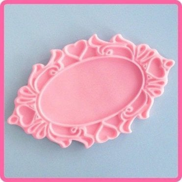 Oval Hearts Decorative Plaque - Cake Decorating Silicone Mould