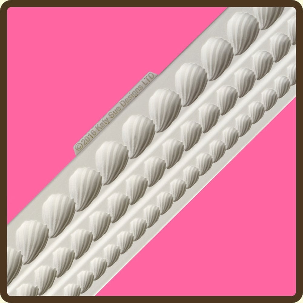 Shell Designs Piped Shell Borders Cake Decorating Silicone Mould By Katy Sue