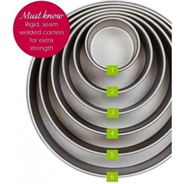 "*FULL SET* Little Venice - Round Professional Grade Anodised Cake Tins - 4"", 6"", 8"", 10"", 12"" & 14"""