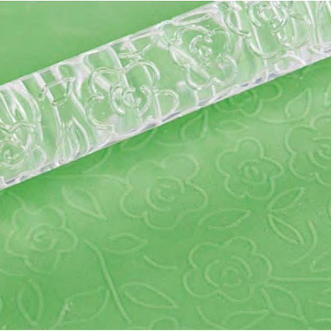 Little Venice Rambling Rose Designer Impression Crystal Clearpress™ Embossing Rolling Pin