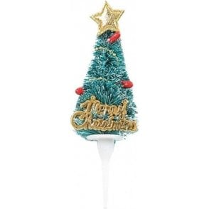 'Merry Christmas' Plastic Christmas Tree Cake Topper Decoration 5cm