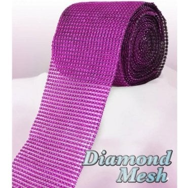 Fuchsia Diamond Glam Rhinestone Ribbon/Wrap - available by the metre