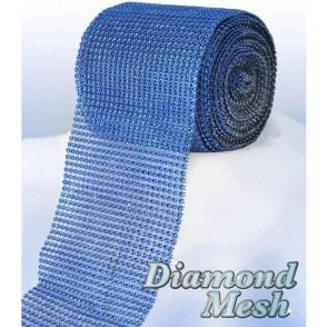 Royal Blue/Sapphire Diamond Glam Rhinestone Ribbon/Wrap - available by the metre