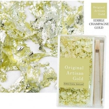 Artisan Edible Champagne Leaf Flakes - Includes 250 flakes & Bamboo Tweezers