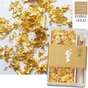 Artisan Edible Gold Leaf Flakes - Includes 250 flakes & Bamboo Tweezers