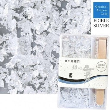 Artisan Edible Silver Leaf Flakes - Includes 250 flakes & Bamboo Tweezers
