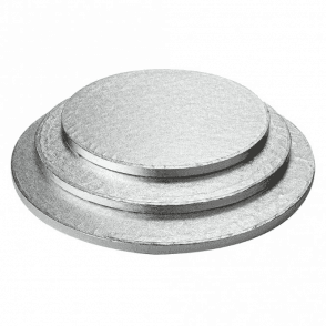 "14"" Silver Round Foiled Cake Drum/Board 12mm Thick - *MULTI-BUY DISCOUNTS*"