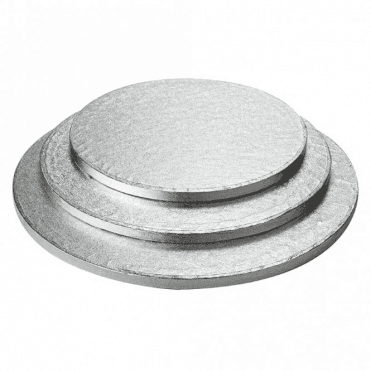 "4"" Silver Round Foiled Cake Drum/Board 12mm Thick - *MULTI-BUY DISCOUNTS*"