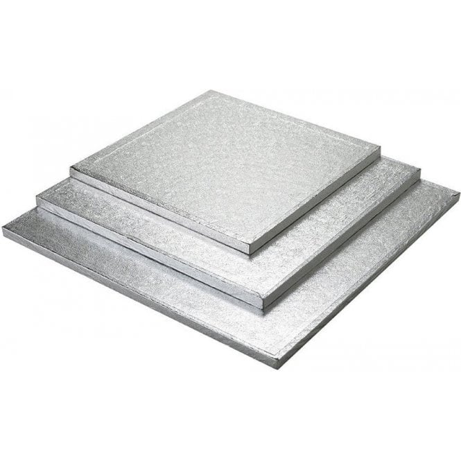 "Packaging Pro 4"" Silver Square Foiled Cake Drum/Board 12mm Thick - *MULTI-BUY DISCOUNTS*"