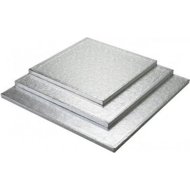 "4"" Silver Square Foiled Cake Drum/Board 12mm Thick - *MULTI-BUY DISCOUNTS*"