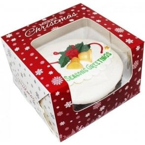 "8"" Premium Design Christmas Snowflake Window Cake Boxes"