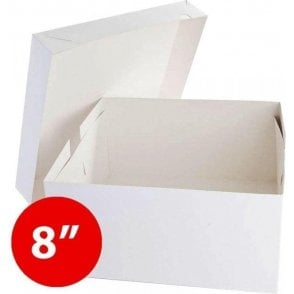 "*Bulk Buy* 8"" Square, Standard Cake Boxes, Base & Lids - Pack of 50"