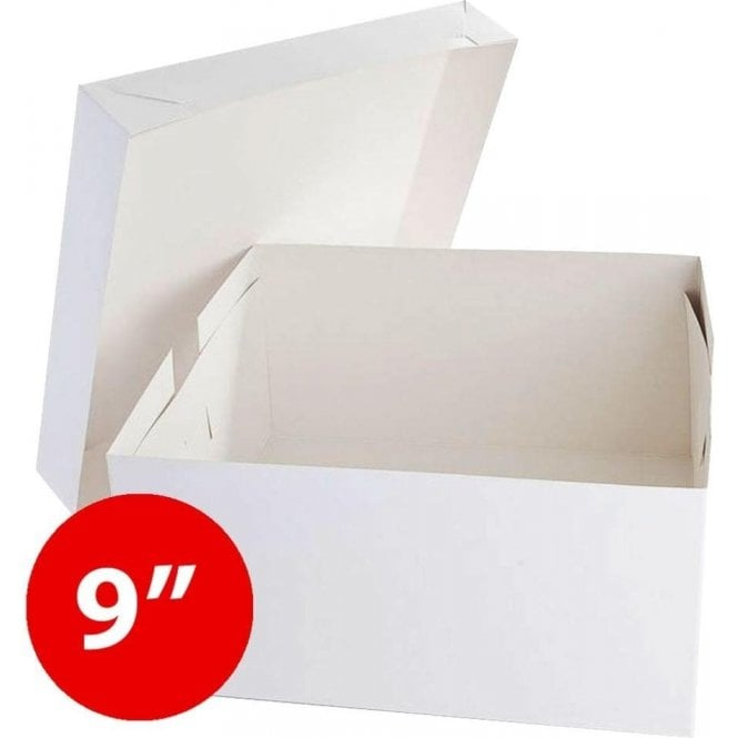 "Packaging Pro *Bulk Buy* 9"" Square, Standard Cake Boxes, Base & Lids - Pack of 50"