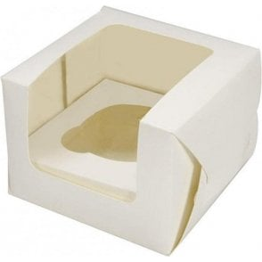 Ivory Single Cupcake Box with Side Window and Insert