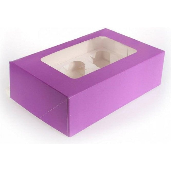 Packaging Pro Purple Cupcake/Muffin Box with Window - Holds 6