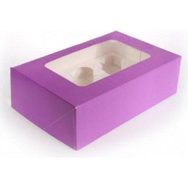 Purple Cupcake/Muffin Box with Window - Holds 6