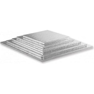 Silver Square Foiled Cake Drum/Board 12mm Thick - Choose Your Sizes