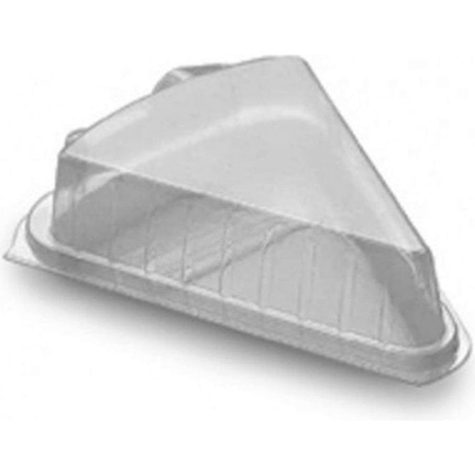 Packaging Pro Single Portion Cake Slice Plastic Hinged Container/Box - Pack of 10