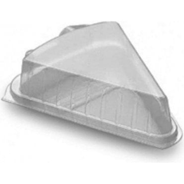 Single Portion Cake Slice Plastic Hinged Container/Box - Pack of 10