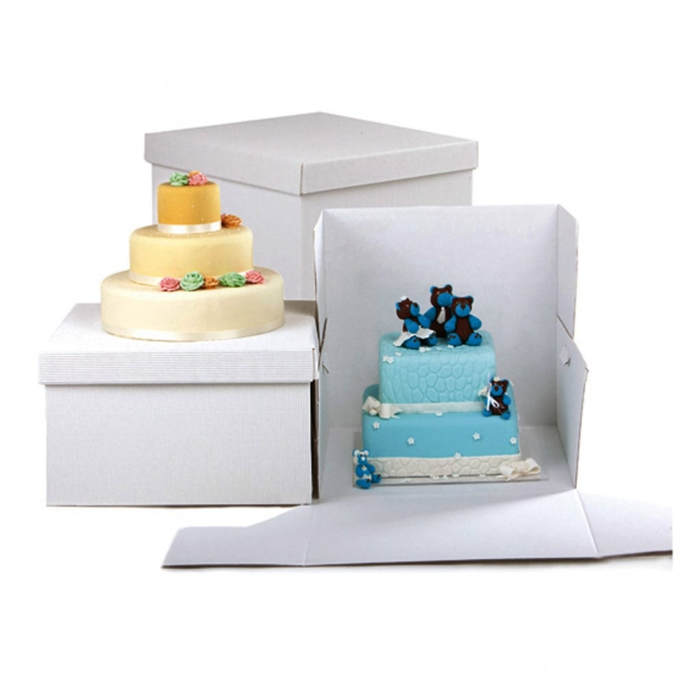 """White Cake Box Extender 10/"""" Square 14/"""" High Pack of 5"""