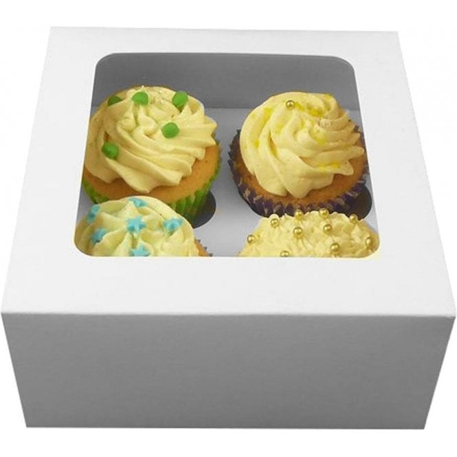 Packaging Pro White Cupcake Box with Window and Insert - Holds 4 - *MULTI-BUY DISCOUNTS*