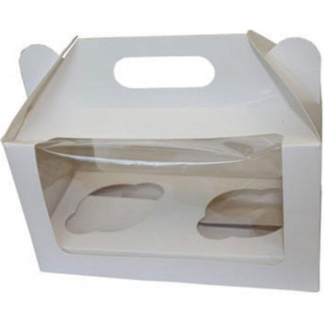 Packaging Pro White Cupcake Box with Window - Holds 2