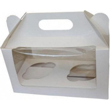 White Cupcake Box with Window - Holds 2