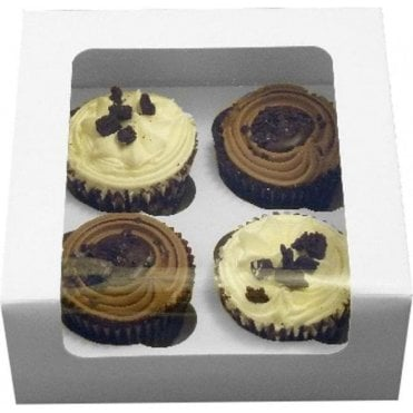 White Cupcake Vision Box with Window and Insert - Holds 4