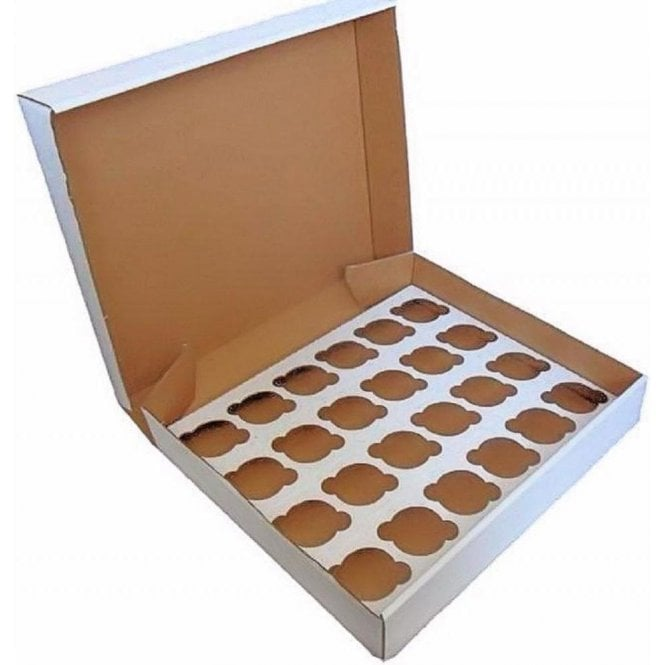 Packaging Pro White Heavy Duty Cupcake/Muffin Box - Holds 24 (Pack of 10)