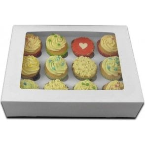 White Satin Cupcake/Muffin Box - Holds 12 - *MULTI-BUY DISCOUNTS*