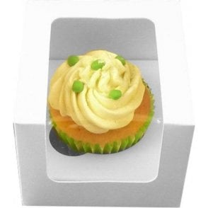 White Single Cupcake Box with Side Window and Insert - Holds 1 - *MULTI-BUY DISCOUNTS*