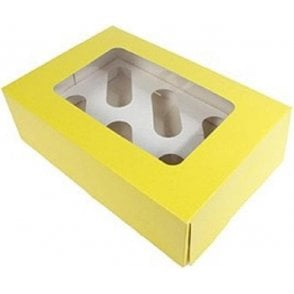 Yellow Cupcake/Muffin Box with Window - Holds 6