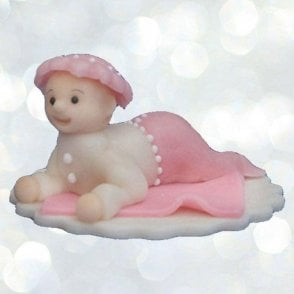 Pink Baby Girl Edible Cake Decorating Marzipan Cake Topper