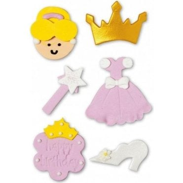 Pink Princess Sugar Decorations - 6 Count