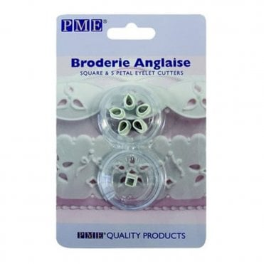 Broderie Anglaise Square And 5 Petal Eyelet Cutter Set - 2 Pieces
