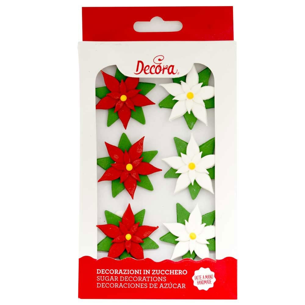Decora Poinsettias Sugar Royal Icing Decorations Mixed Sizes 6 Count