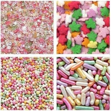 100% Natural, 4 Cell Jar Glitter Party Sprinkles 75g