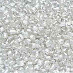 100% Natural, Pearlised White Sparkling Sugar Crystal Sprinkles 100g